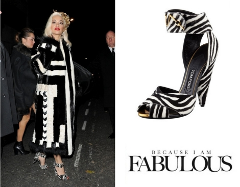 Tom-Ford-Zebra-Print-Pin-Detail-Ankle-Strap-Sandals-British-Fashion-Awards-Rita-Ora